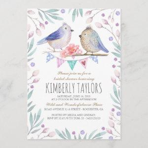 Birds and Pink Flowers Woodland Bridal Shower Invitation starting at 2.35