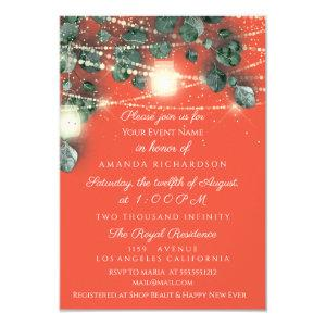 Birthday Bridal Shower Coral Gold  Rustic Mint Invitation starting at 1.95