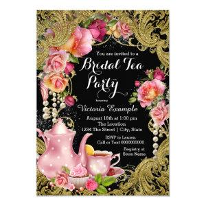 Black and Gold Glitter Rose Tea Party Invitation starting at 2.55