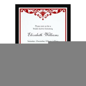 Black and Red Flourish Bridal Shower Invitation starting at 2.51