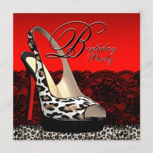 Black and Red Leopard Birthday Party Invitations starting at 2.25