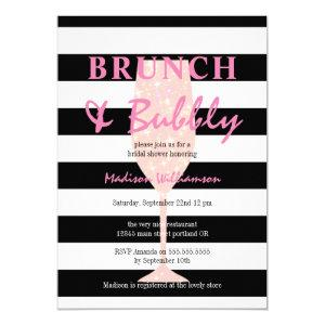 Black and White Stripe with Pink Glitter Champagne Invitation starting at 2.40