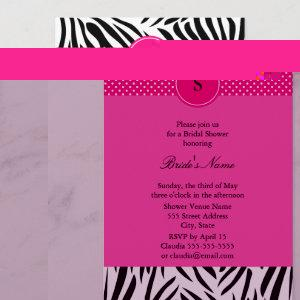 Black and White Zebra with Hot Pink Bridal Shower Invitation starting at 2.51