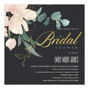 BLACK BLUSH FLORAL BUNCH WATERCOLOR BRIDAL SHOWER INVITATION starting at 2.55