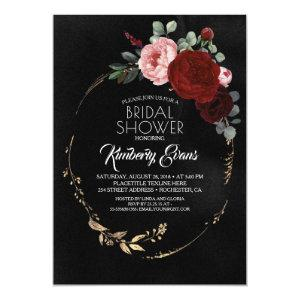 Black Burgundy Red and Gold Floral Bridal Shower Invitation starting at 2.40