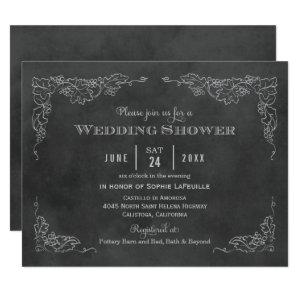 Black Chalkboard Vintage Vineyard Wedding Shower Invitation starting at 2.21