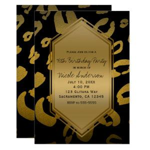 Black Gold Leopard Print Birthday Party Any Event Invitation starting at 2.71