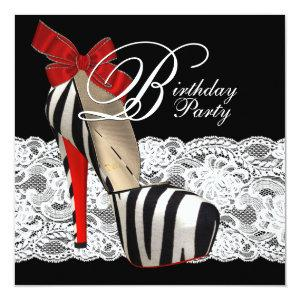 Black High Heel Shoes Red Zebra Birthday Party Invitation starting at 2.25