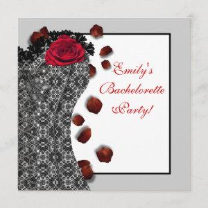 Black Lace Corset Red High Heel Bachelorette Party Invitation starting at 2.51