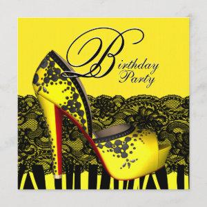 Black Lace High Heel Shoes Yellow Birthday Party Invitation starting at 2.51