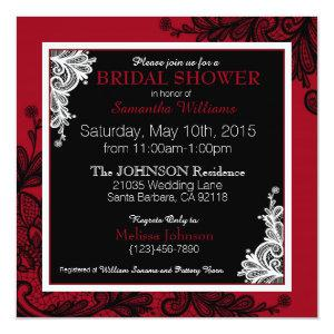 Black Lace Red Modern Goth Bridal Shower Invitation starting at 2.72