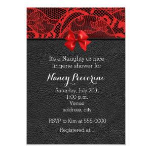 Black leather and red lace lingerie invitation starting at 2.21