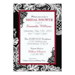 Black Red and White Lace Bridal Shower Invitation starting at 2.82