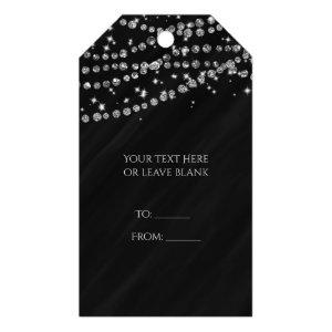 Black & Silver Diamond Bling Glam Sparkle Party Gift Tags starting at 12.15