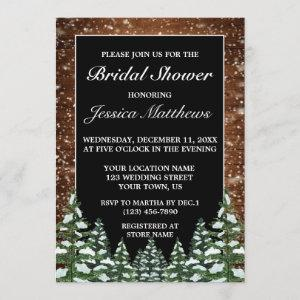 Black Snowy Wood & Forest Pine Bridal Shower Invitation starting at 2.40