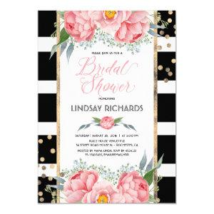 Black Stripes Gold and Pink Floral Bridal Shower Invitation starting at 2.25