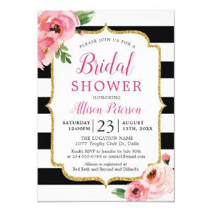Black Stripes Pink Floral Bridal Shower Invitation starting at 2.50