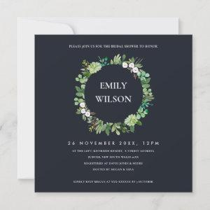 BLACK SUCCULENT WREATH FAUNA BRIDAL SHOWER INVITE starting at 2.55
