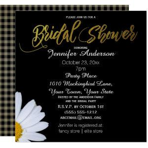 Black White Gold Daisy Theme Bridal Shower Invitation starting at 2.40