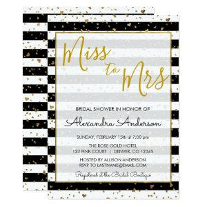 Black & White Gold Foil Miss to Mrs Bridal Shower Invitation starting at 2.51