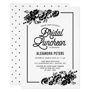 Black & White Modern Floral Bridal Luncheon Invitation starting at 2.40
