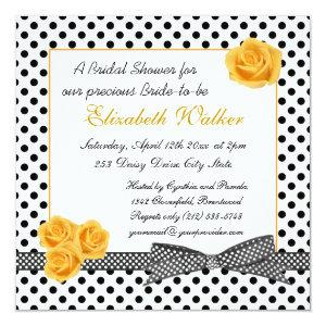 Black white polka dot yellow rose Bridal Shower Invitation starting at 2.67