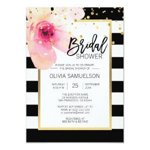 Black White Watercolor Pink Floral Bridal Shower Invitation starting at 2.05