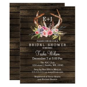 Blooming Antlers Country Chic Bridal Shower Invite starting at 2.50