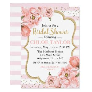 Blossoming Peonies Pink Blush & Gold Bridal Shower Invitation starting at 2.55