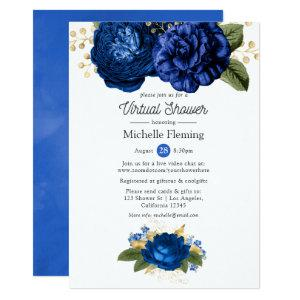 Blue and Gold Floral Virtual Baby or Bridal Shower Invitation starting at 2.66