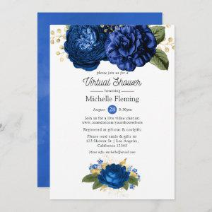 Blue and Gold Floral Virtual Baby or Bridal Shower Invitation starting at 2.51