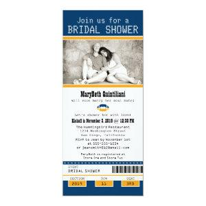 Blue and Gold Football Ticket Bridal Shower Invitation starting at 2.82