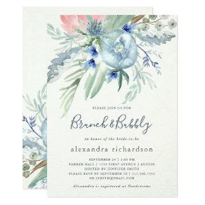 Blue and Pink Peony Bridal Brunch & Bubbly Invitation starting at 2.36