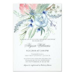 Blue and Pink Peony Watercolor Bridal Shower Invitation starting at 2.36