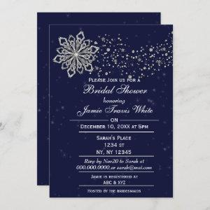 Blue and Silver Snowflake Winter Bridal shower Invitation starting at 2.50