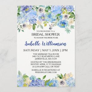Blue and White Floral Bridal Shower Invitations starting at 2.51