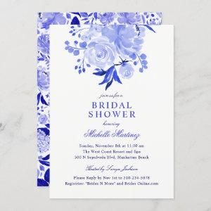 Blue and White Watercolor Floral Bridal Shower Invitation starting at 2.40