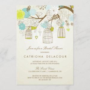 BLUE AND YELLOW BIRDCAGES BRIDAL SHOWER INVITATION starting at 2.51