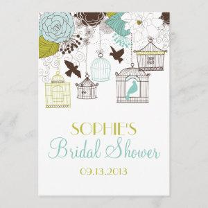 Blue Birdcages & Flowers Bridal Shower Invitations starting at 2.51