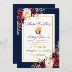 Blue Burgundy Floral Gold Bridal Tea Party Invite starting at 2.51