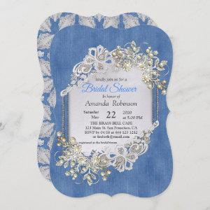 Blue Denim, lace - Ivory Pearls starting at 2.65