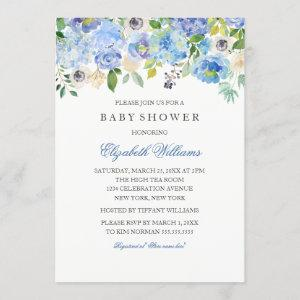 Blue Floral Watercolor Boy Baby Shower Invitation starting at 2.55