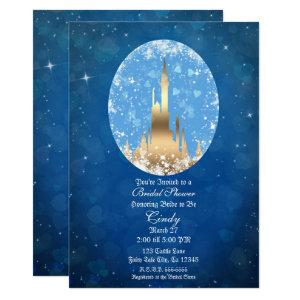 Blue Gold Fairy Tale Castle Sparkle Bridal Shower Invitation starting at 2.70