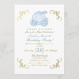 Blue & Gold Pumpkin Carriage Sweet 16 Party Invitation starting at 2.87