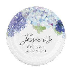 Blue Hydrangea Bridal Shower  Party Plates starting at 1.50