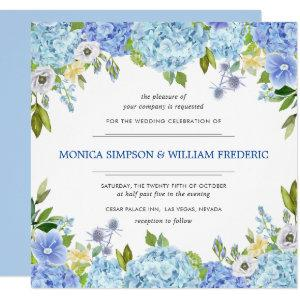 Blue Hydrangea Floral Greenery Watercolor Wedding Invitation starting at 2.25