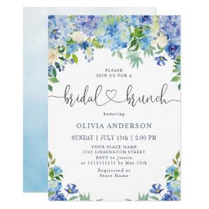 Blue Hydrangea Greenery Watercolor Bridal Brunch Invitation starting at 2.35