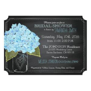 Blue Hydrangea Jar Chalkboard Bridal Shower Invitation starting at 3.07