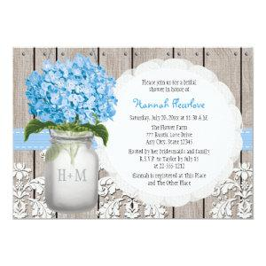 Blue Hydrangea Monogrammed Mason Jar Bridal Shower Invitation starting at 2.66