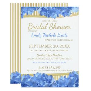 Blue Hydrangeas and Gold Stripes Bridal Shower Invitation starting at 2.61
